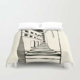 Narrow Passage: Ink Drawing Duvet Cover
