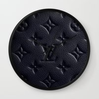 lv Wall Clocks featuring Black LV Logo by Luxe Glam Decor