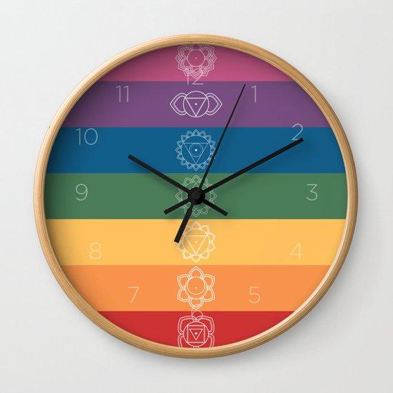 Seven Chakra Mandalas on a Striped Rainbow Color Background by circlegoddess