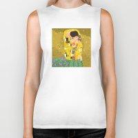 gustav klimt Biker Tanks featuring The Kiss (Lovers) by Gustav Klimt  by Alapapaju