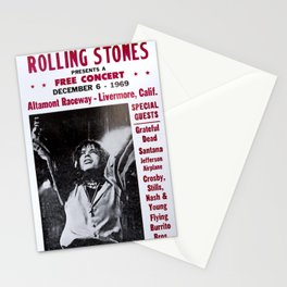 Vintage Rolling Stones free concert at Altamont Raceway, Livermore, California, December 6, 1969 Stationery Cards