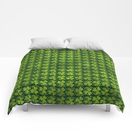 Irish Shamrock -Clover Green Glitter pattern Comforters