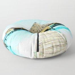 Watercolor Maldives Bungalow Floor Pillow