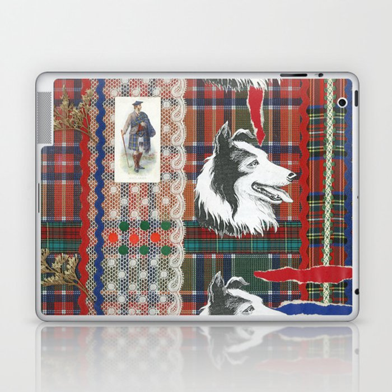 Scottish Collie, Lad, Lace & Tartan Plaid by Nettwork2Design - Nettie Heron-Middleton Laptop & iPad Skin