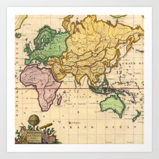 Vintage Map of the East Art Print