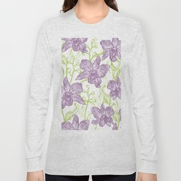 Orchid flowers. Hand drawn on white background olive Green pink purple contour sketch Long Sleeve T-shirt