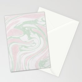 Paper Marbling Marble Effect Swirl Pink Green Stationery Cards