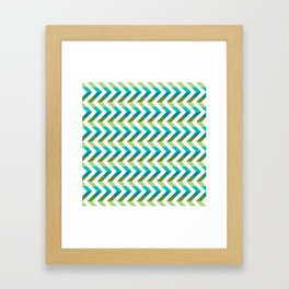 Chevron Picnic Time - Geometric pattern with blue and green Framed Art Print