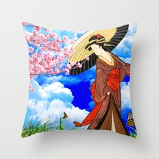 静かな花見  (Flower viewing) Throw Pillow