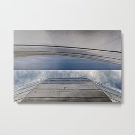 View of the Sky in an Urban Metal Slot Canyon Metal Print