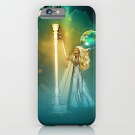 Beautiful fairy playing a harp in the sky iPhone Case
