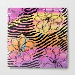 Zebraprint with florals Metal Print