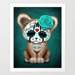 Blue Day of the Dead Sugar Skull Cougar Cub Art Print