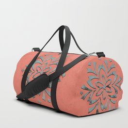 Geometric metallic flower coral grey Duffle Bag