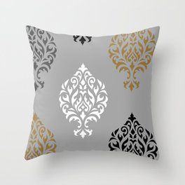 Orna Damask Art I BW Grays Gold Throw Pillow
