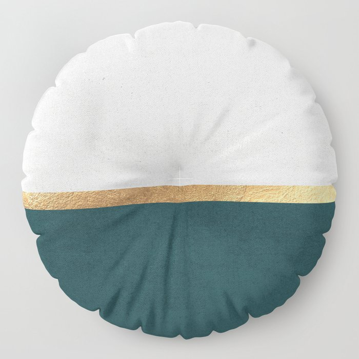 Deep Green, Gold and White Color Block Floor Pillow