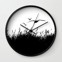 Seagulls Flying over Sand Dunes Wall Clock