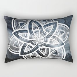 Authentic white mandala on sky Rectangular Pillow