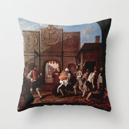 William Hogarth - The Gate of Calais Throw Pillow
