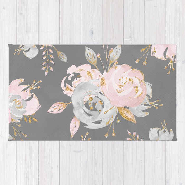 Night Rose Garden Gray Rug