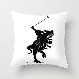Big foot playing polo on a T-rex Throw Pillow