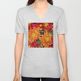 1960's Retro Hippie Boho Chic Colorful Flowers Unisex V-Neck