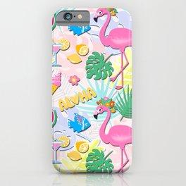 Aloha Pink Flamingo Art iPhone Case