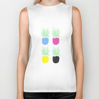 pineapples Biker Tanks featuring Pineapples by adovemore