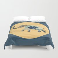 polka Duvet Covers featuring Elephant Polka by Paula Belle Flores
