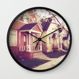 Colored Houses Wall Clock