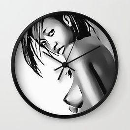 Obey - bondage fantasy, sexy girl tied, erotic slave woman, black and white erotic nude Wall Clock