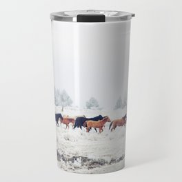 Winter Horse Herd Travel Mug