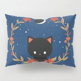 Midnight Cat Wreath Pillow Sham