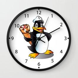 Cartoon penguin with ice cream. Wall Clock