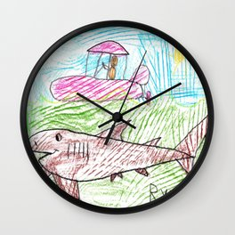Zodiac over a Greenland Shark Wall Clock