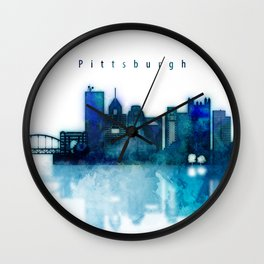 Watercolor cityscape of Pittsburgh city Wall Clock