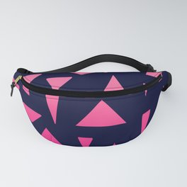 Geometric navy blue neon pink gradient triangles Fanny Pack