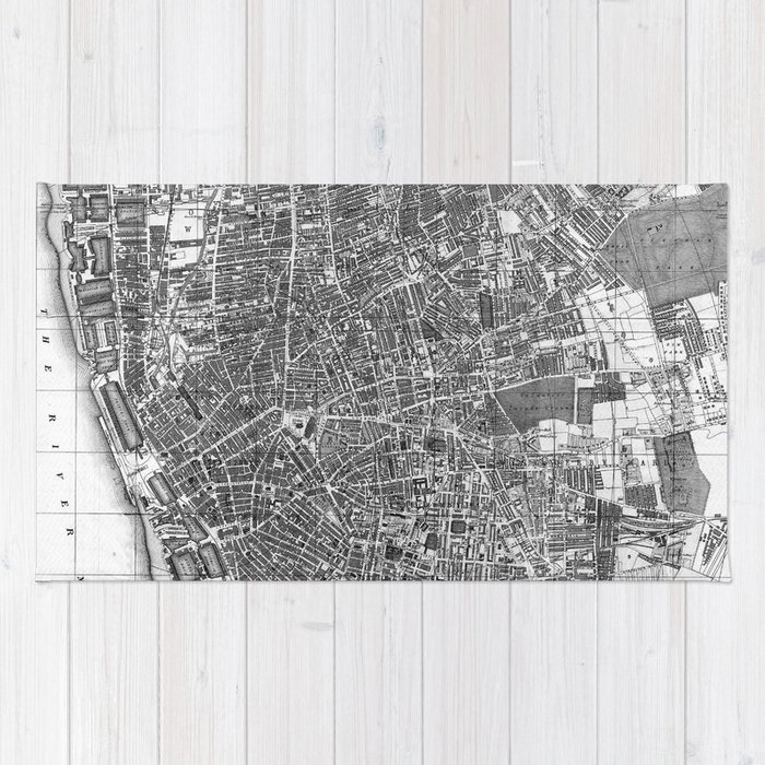 Map Of England Vintage.Vintage Map Of Liverpool England 1890 Bw Rug By Bravuramedia