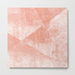 Coral and White Geometric Ink Texture Metal Print