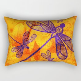 Navy-blue embroidered dragonflies on textured vivid orange background Rectangular Pillow