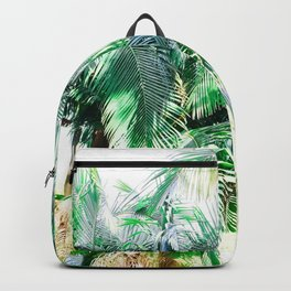 The wild shadow tropical palm tree green bright photography Backpack