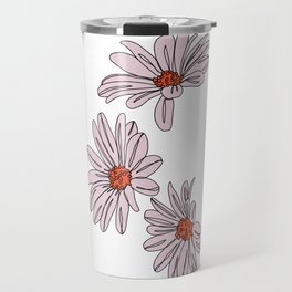 Daisy botanical line illustration - Bud Travel Mug