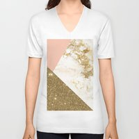 marble V-neck T-shirts featuring Gold marble collage by cafelab