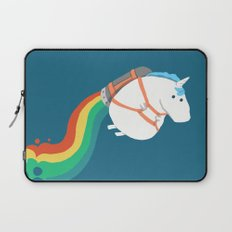 Fat Unicorn on Rainbow Jetpack Laptop Sleeve