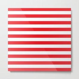 Horizontal Red Stripes Metal Print