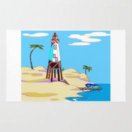 A Lighthouse on the Beach with Palm Trees Rug
