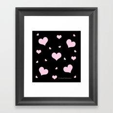 Pretty pink heart pattern on black Framed Art Print