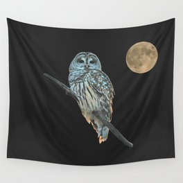 Owl, See the Moon (Barred Owl) Wall Tapestry