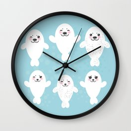 Funny white fur seal pups, cute seals with pink cheeks and big eyes. Kawaii albino animal Wall Clock