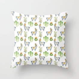 Hand painted blush blue green watercolor lamas floral cactus Throw Pillow